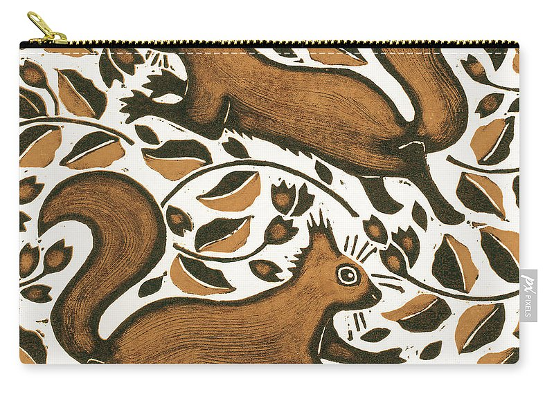 Squirrels Carry-all Pouch featuring the painting Beechnut Squirrels by Nat Morley