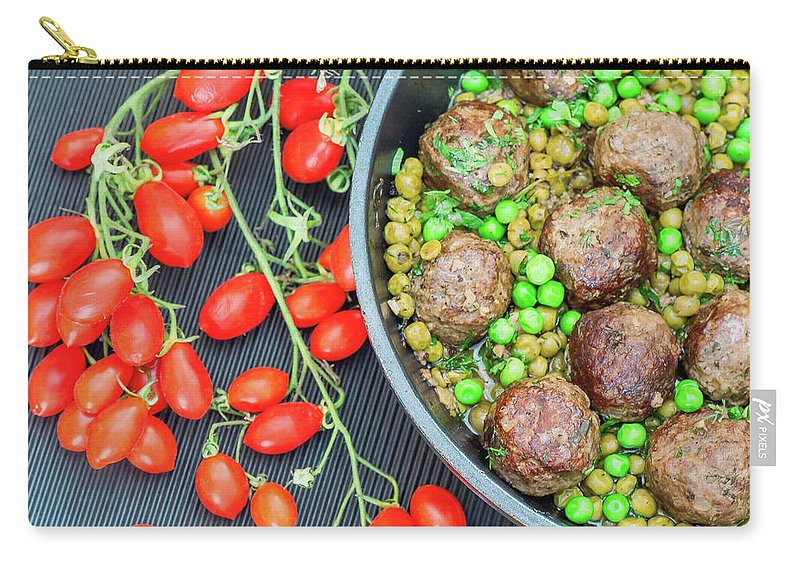 Meatball Carry-all Pouch featuring the photograph Beef Meatballs With Peas And Lemon by Olga Solan, The Art Photographer