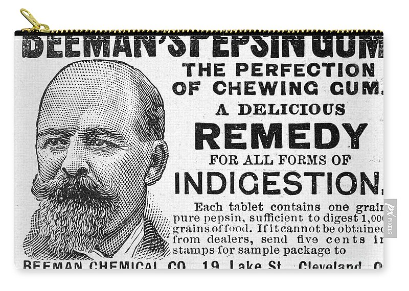 1895 Carry-all Pouch featuring the photograph Beemans Pepsin Gum, 1895 by Granger