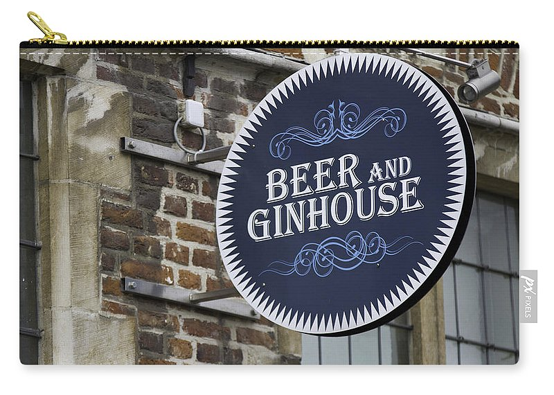 Sign Carry-all Pouch featuring the photograph Beer And Ginhouse by David Freuthal