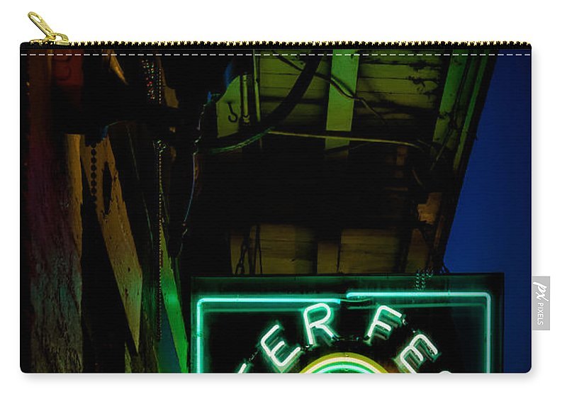 Sign Carry-all Pouch featuring the photograph Beer Fest And Lamp by Kathleen K Parker