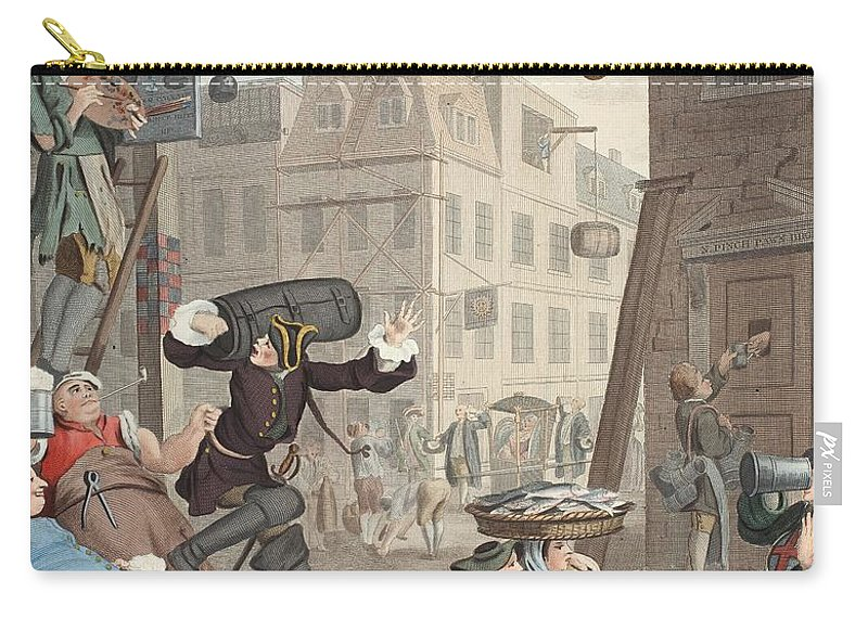 Satire Carry-all Pouch featuring the drawing Beer Street, Illustration From Hogarth by William Hogarth