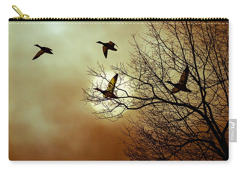 Duck Carry-all Pouch featuring the photograph Before A Winter Sky by Bob Orsillo