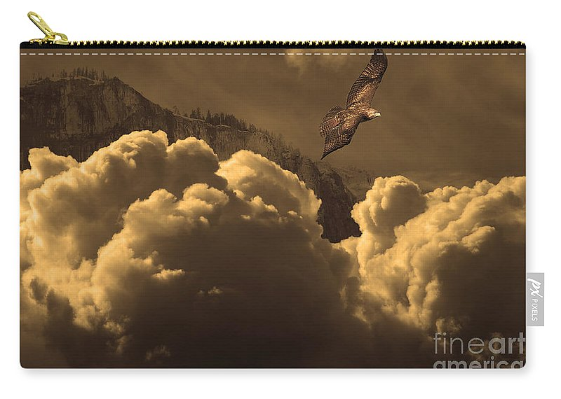Wingsdomain Carry-all Pouch featuring the photograph Before Memory . I Have Soared With The Hawk by Wingsdomain Art and Photography