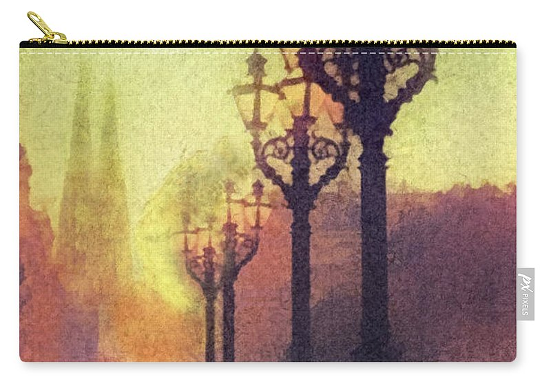 Before Sunrise Carry-all Pouch featuring the painting Before Sunrise by Mo T