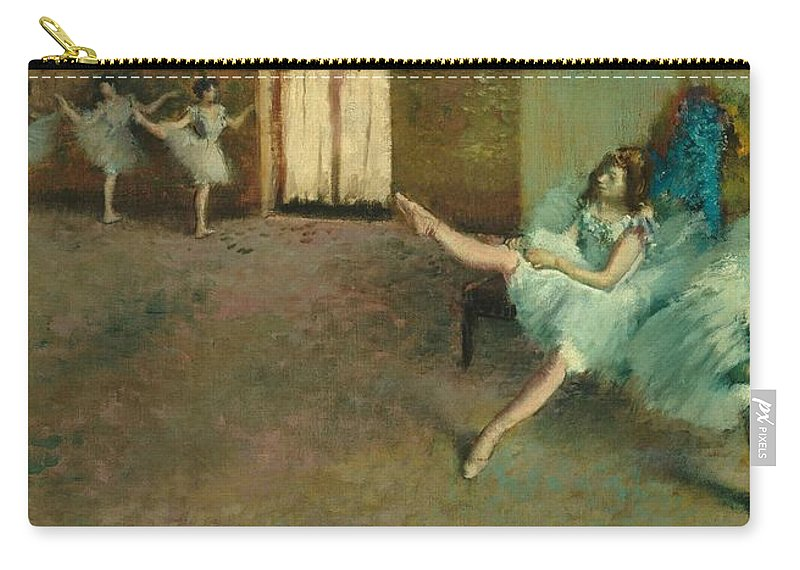 Dance; Female; Tutu; Exercise; Stretching; Rehearsal; Impressionist; Dancer; Dancers; Warming; Up; Warm Carry-all Pouch featuring the painting Before The Ballet by Edgar Degas