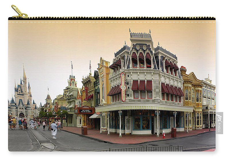 Magic Kingdom Carry-all Pouch featuring the photograph Before The Gates Open Early Morning Magic Kingdom With Castle. by Thomas Woolworth