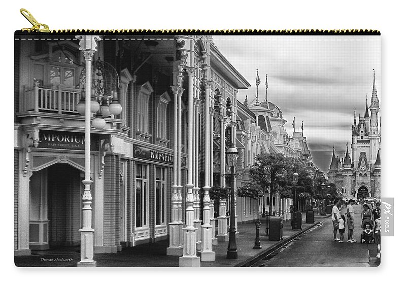 Black And White Carry-all Pouch featuring the photograph Before The Gates Open In Black And White Walt Disney World by Thomas Woolworth