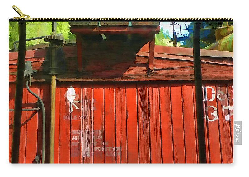Silverton Durango Carry-all Pouch featuring the photograph Behind The Boxcar Silverton Durango Rail by Cathy Anderson