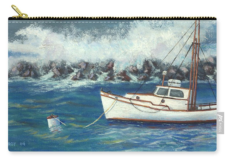 Ocean Carry-all Pouch featuring the painting Behind The Breakwall by Jerry McElroy