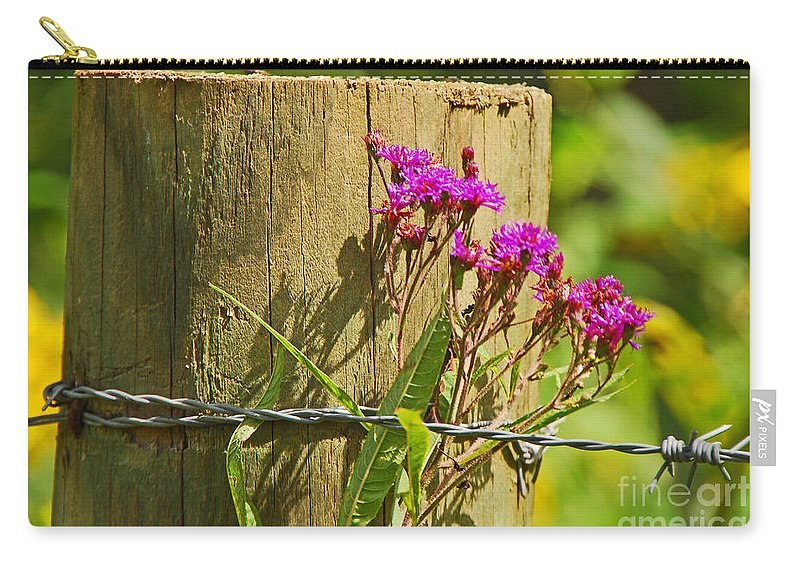 Landscape Carry-all Pouch featuring the photograph Behind The Fence by Mary Carol Story