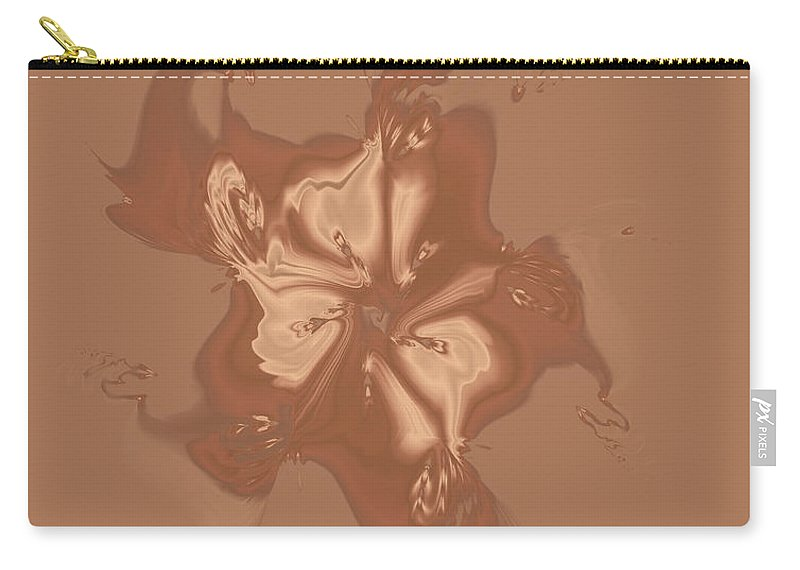 Morning Glory Carry-all Pouch featuring the digital art Beige Satin Morning Glory by Judi Suni Hall