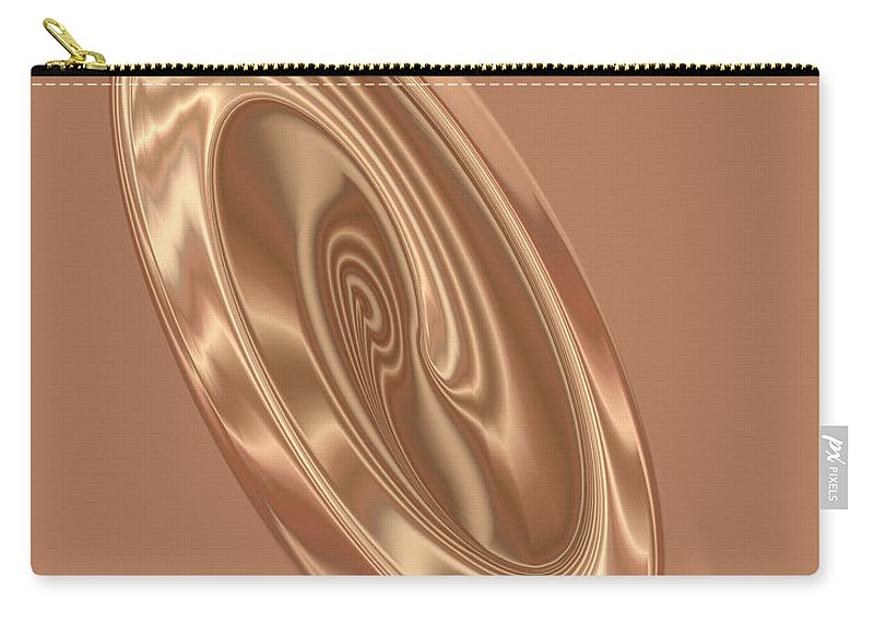 Abstract Carry-all Pouch featuring the digital art Beige Satin Oval 1 by Judi Suni Hall