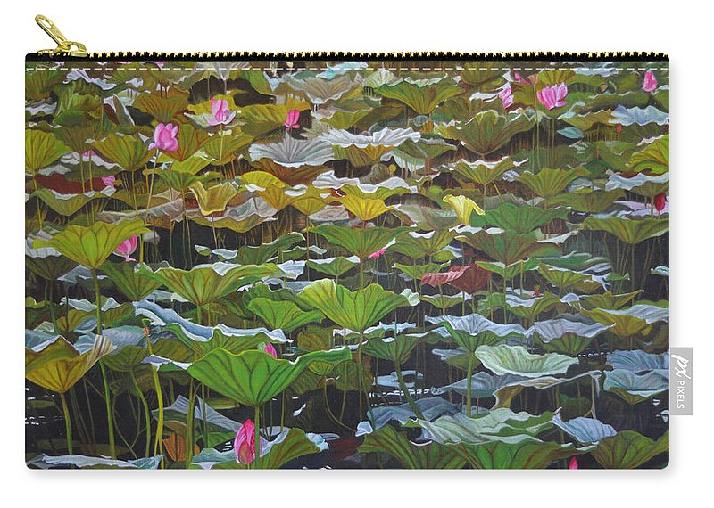 Waterlily Carry-all Pouch featuring the painting Beijing In August by Thu Nguyen