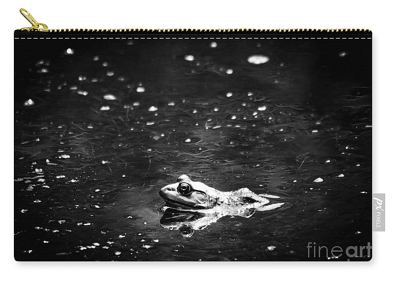 Frog Carry-all Pouch featuring the photograph Being Green In Black And White by Cheryl Baxter