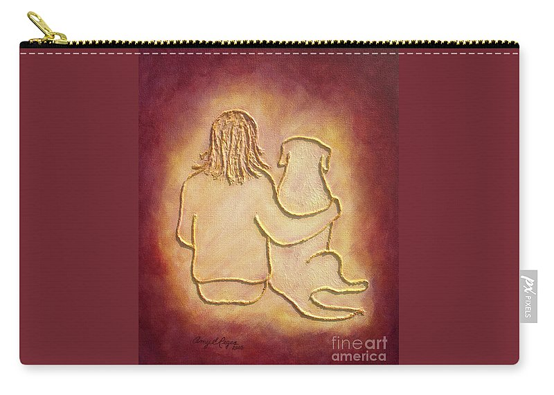 Dog Carry-all Pouch featuring the painting Being There 3 - Dog And Friend by Amy Reges
