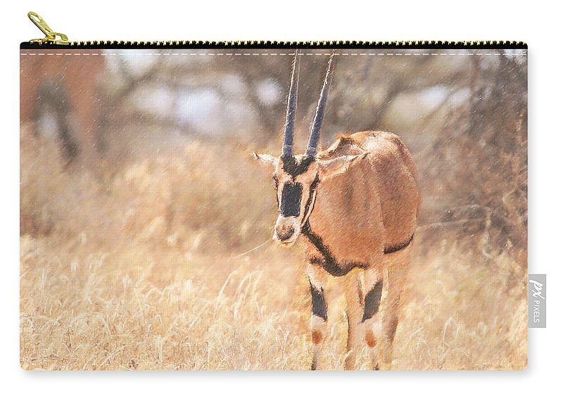 Beisa Oryx Carry-all Pouch featuring the digital art Beisa Oryx Orxy Beisa by Liz Leyden