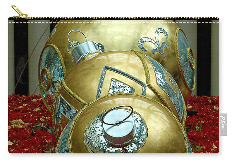 Bellagio Hotel Carry-all Pouch featuring the photograph Bellagio Christmas Ornaments by Mike Nellums