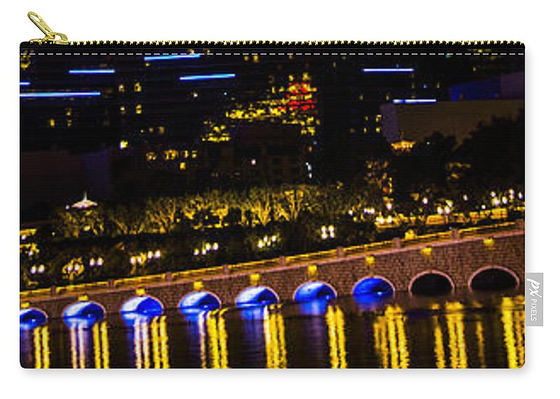 Las Vegas Carry-all Pouch featuring the photograph Bellagio Lagoon Walkway by Angus Hooper Iii