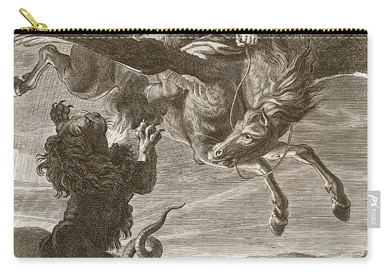 Lion Carry-all Pouch featuring the drawing Bellerophon Fights The Chimaera, 1731 by Bernard Picart
