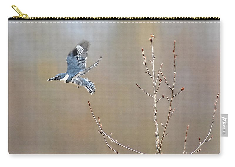 King Fisher Carry-all Pouch featuring the photograph Belted Kingfisher 3 by Randy Giesbrecht