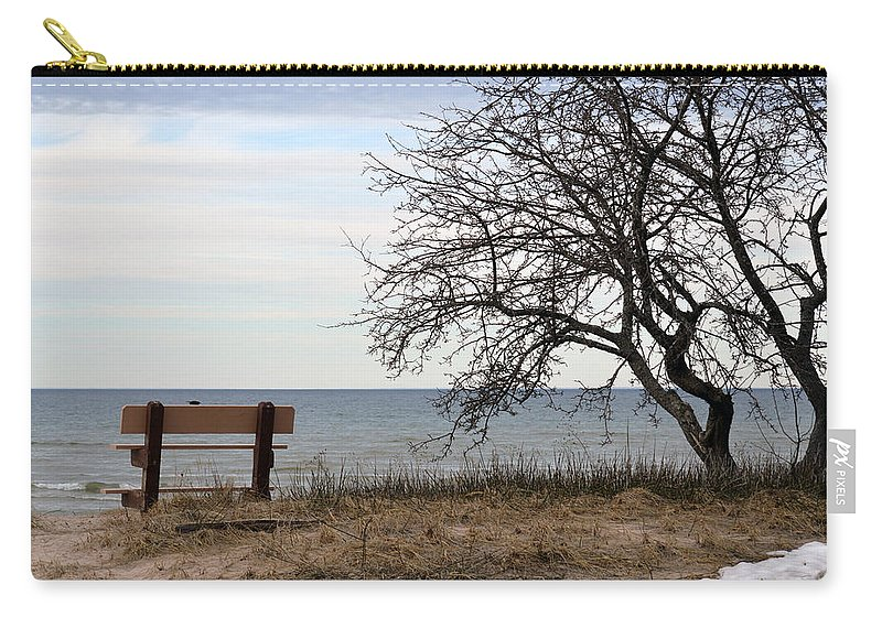Lake Huron Carry-all Pouch featuring the photograph Bench And Beach by Linda Kerkau