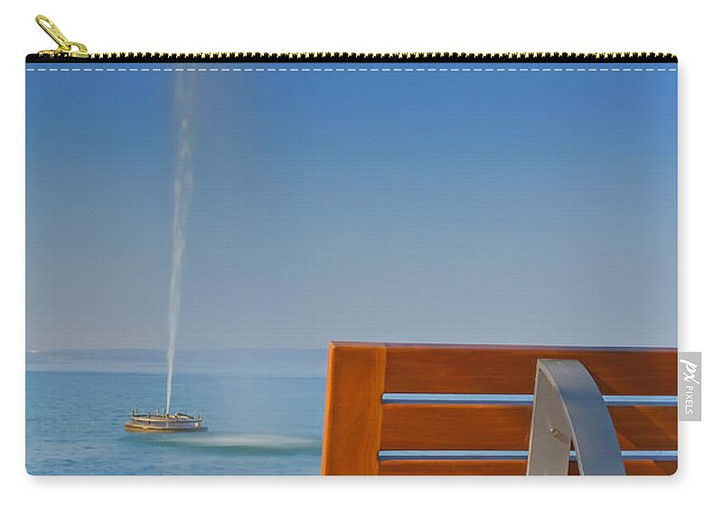 Autumn Carry-all Pouch featuring the photograph Bench And Fountain by Jaroslav Frank