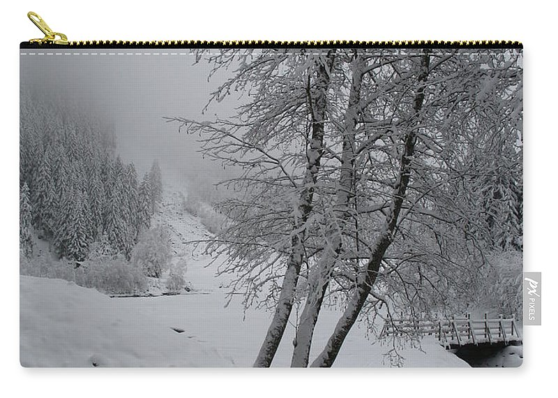 Bench Carry-all Pouch featuring the photograph Bench In The Snow by Christiane Schulze Art And Photography