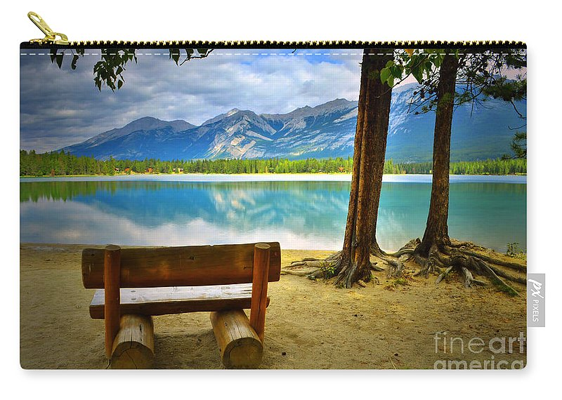 Bench Carry-all Pouch featuring the photograph Bench View At Lake Edith by Tara Turner