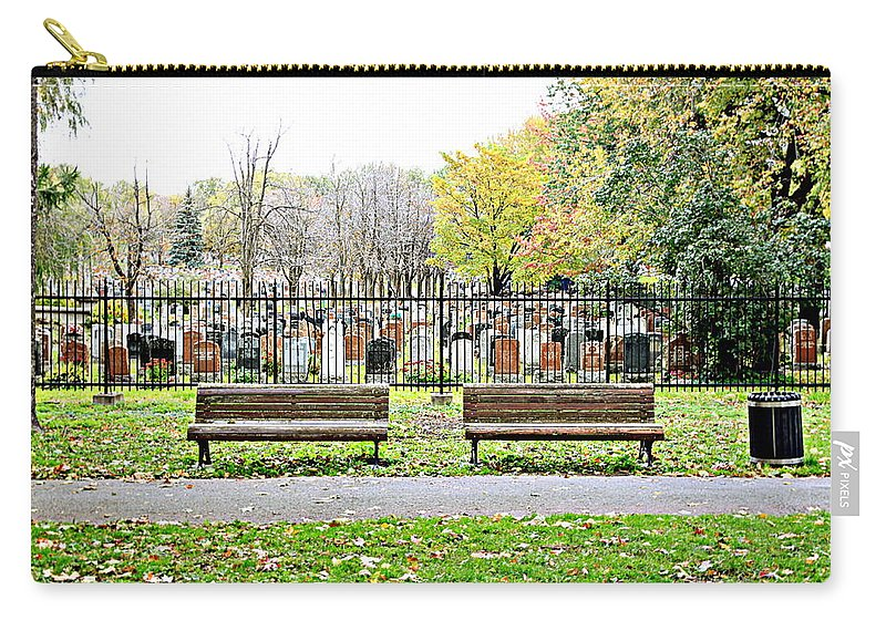Bench Carry-all Pouch featuring the photograph Benches By The Cemetery by Valentino Visentini