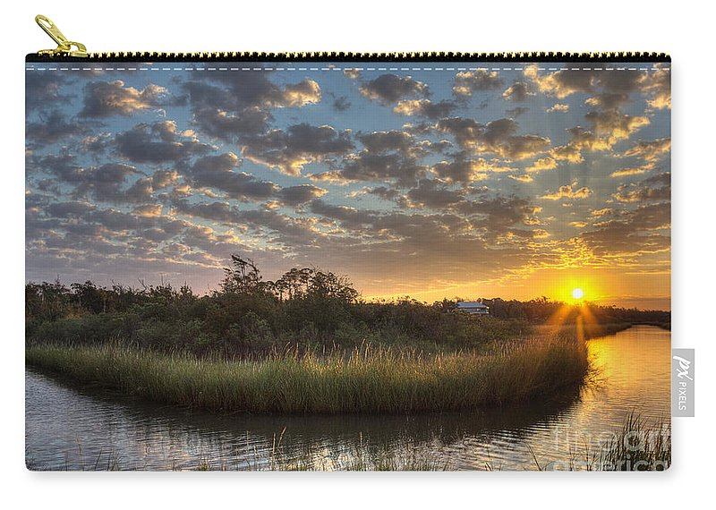 Bayou Carry-all Pouch featuring the photograph Bend In The Bayou Sunrise by Joan McCool