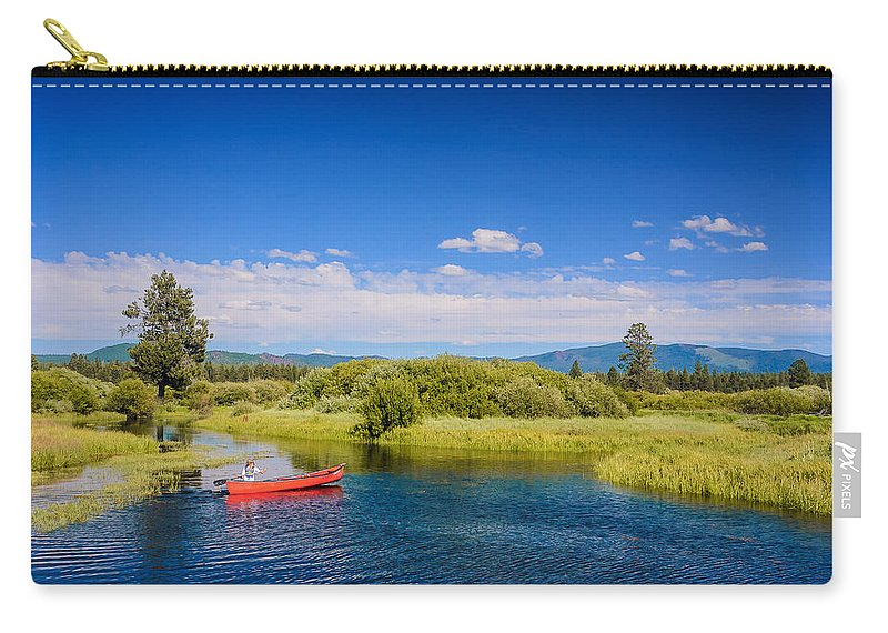 Bend Carry-all Pouch featuring the digital art Bend Sunriver Thousand Trails Oregon by Bob and Nadine Johnston