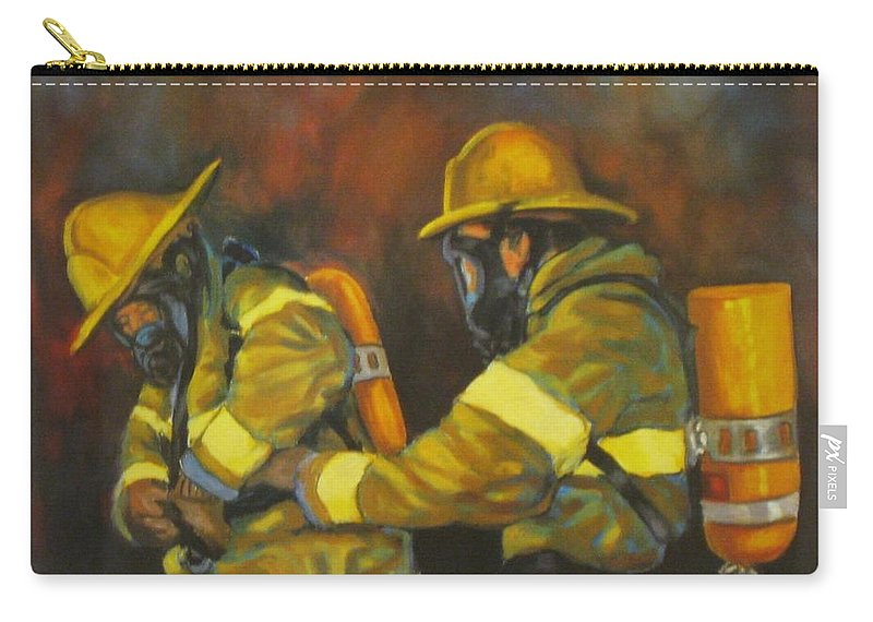 Benevolent Warriors Carry-all Pouch featuring the painting Benevolent Warriors by John Malone