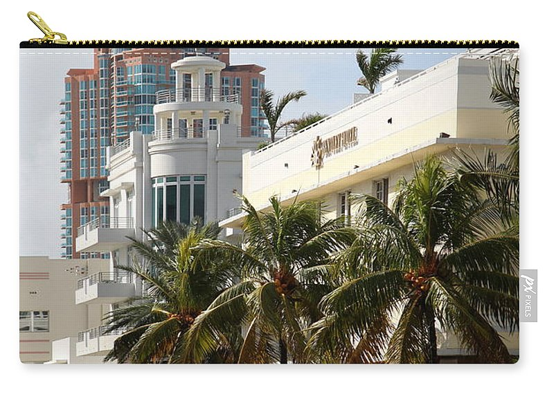 Bentley Hotel Carry-all Pouch featuring the photograph Bentley Hotel Miami by Christiane Schulze Art And Photography