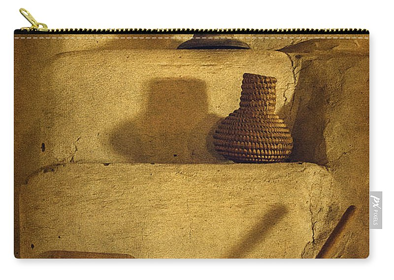 Bent's Old Fort National Historic Site Carry-all Pouch featuring the photograph Bent's Old Fort Kitchen Fireplace by Priscilla Burgers