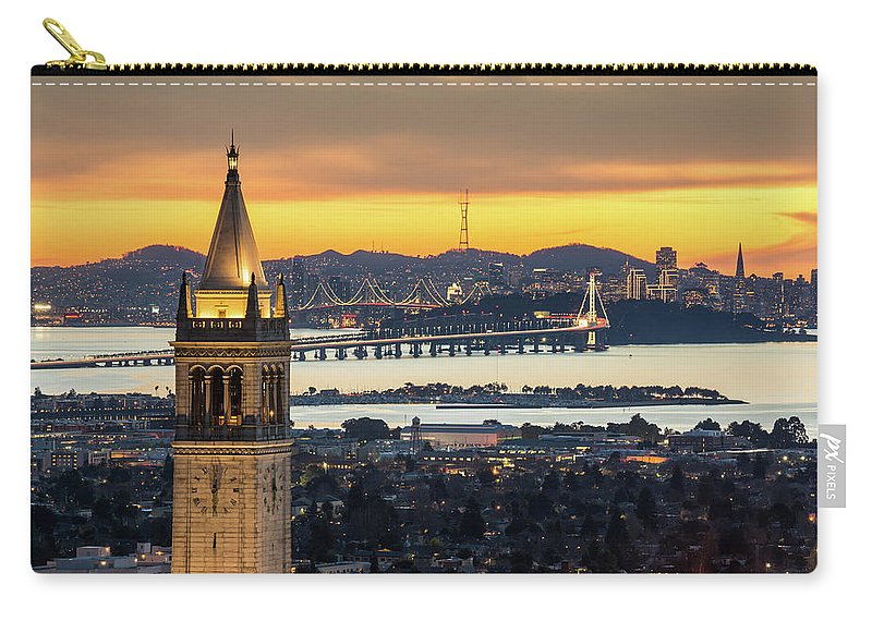 San Francisco Carry-all Pouch featuring the photograph Berkeley Campanile With Bay Bridge And by Chao Photography