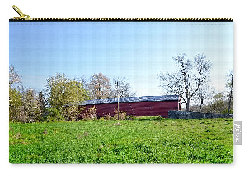 Griesemer's Carry-all Pouch featuring the photograph Berks County - Griesemer's Covered Bridge by Bill Cannon