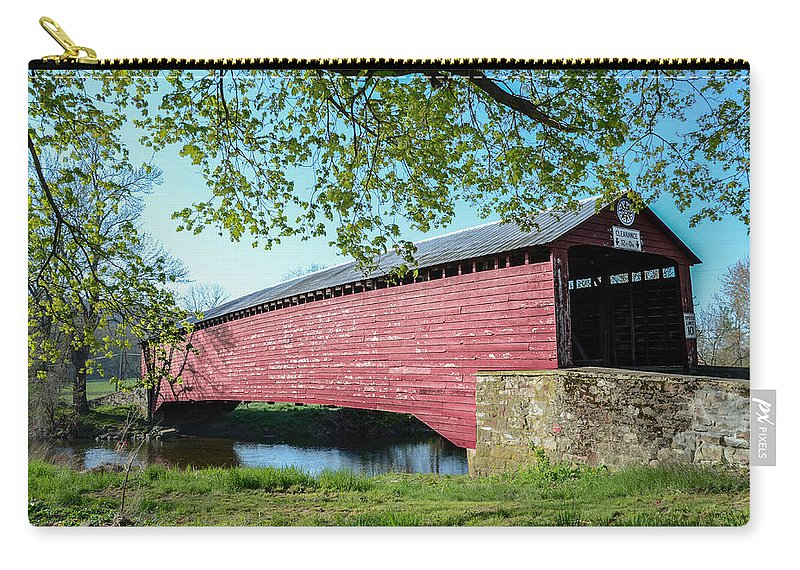 Berks Carry-all Pouch featuring the photograph Berks Courty Pa - Griesemer's Covered Bridge by Bill Cannon