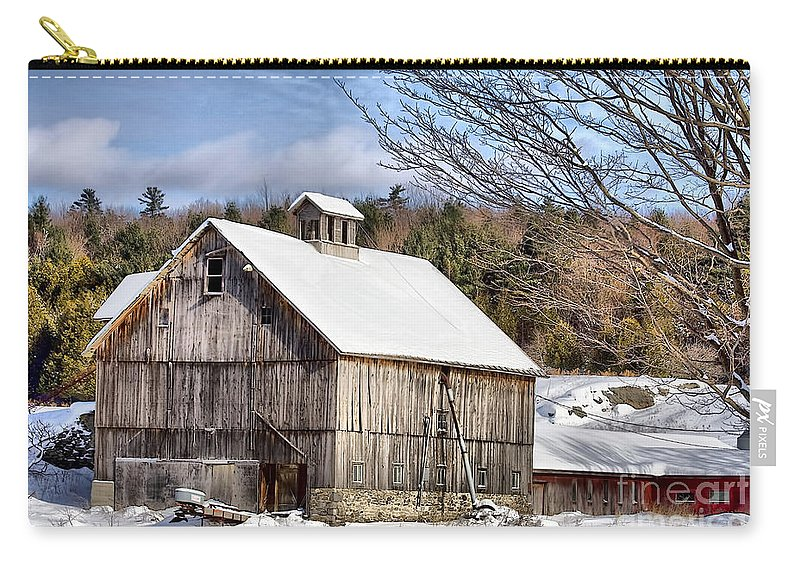 Barn Carry-all Pouch featuring the photograph Berkshire Barn In Winter by Deborah Benoit