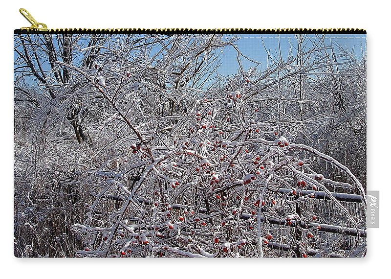 Bare Carry-all Pouch featuring the photograph Berries In Ice by Susan Wyman