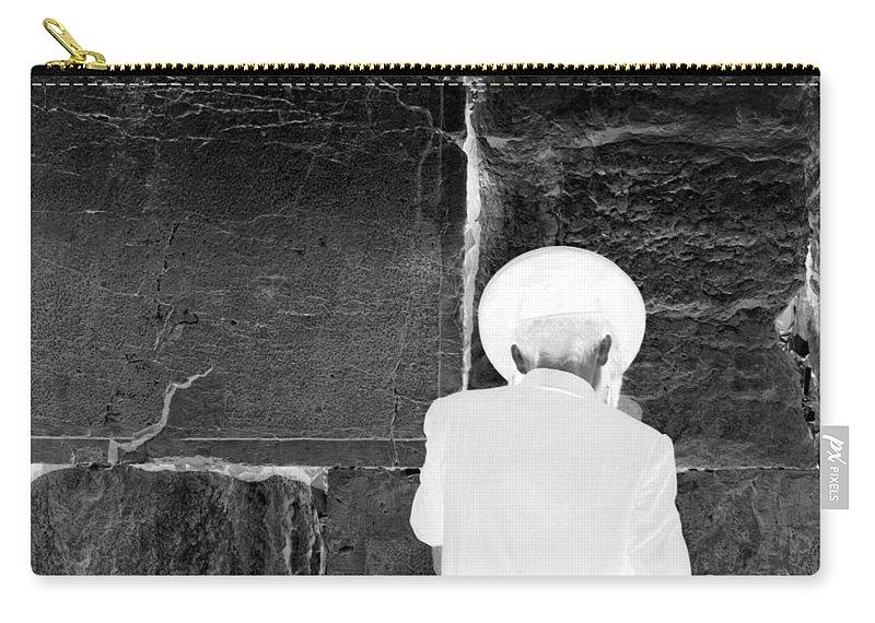 Israel Jerusalem Western Wall Wailing Wall Holy City Jews Jewish Prayer Art Black And White Negative Carry-all Pouch featuring the photograph beseeching the LORD by Joseph Hedaya