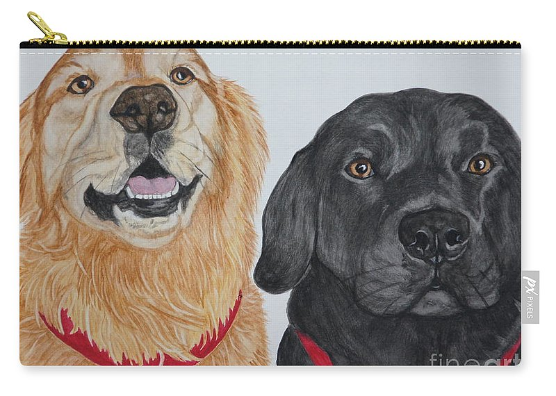 Dogs Carry-all Pouch featuring the painting Best Buds by Megan Cohen