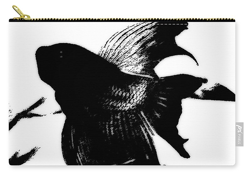 Beta Fish Carry-all Pouch featuring the photograph Beta In Black And White by Jennifer Muller