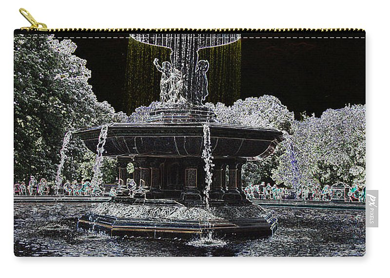Bethesda Fountain Carry-all Pouch featuring the photograph Bethesda Fountain Abstract by Christiane Schulze Art And Photography