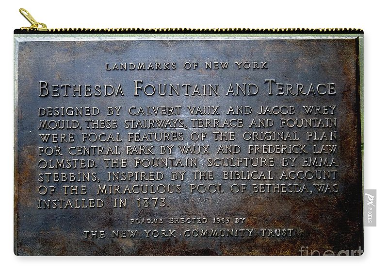 Signs Carry-all Pouch featuring the photograph Bethesda Fountain And Terrace by Ed Weidman
