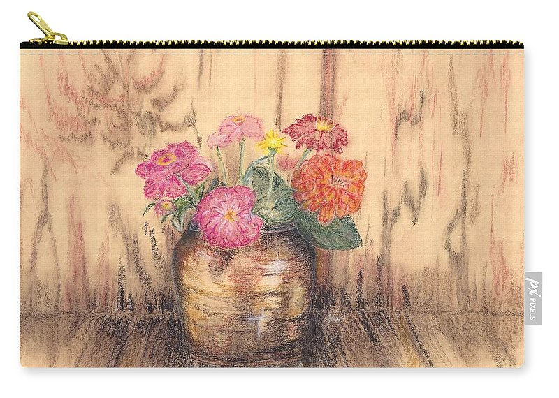 Flowers Carry-all Pouch featuring the pastel Betsy's Flowers 2 by Judith Rice