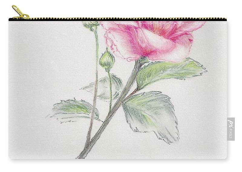 Rose Carry-all Pouch featuring the pastel Betsy's Rose by Judith Rice