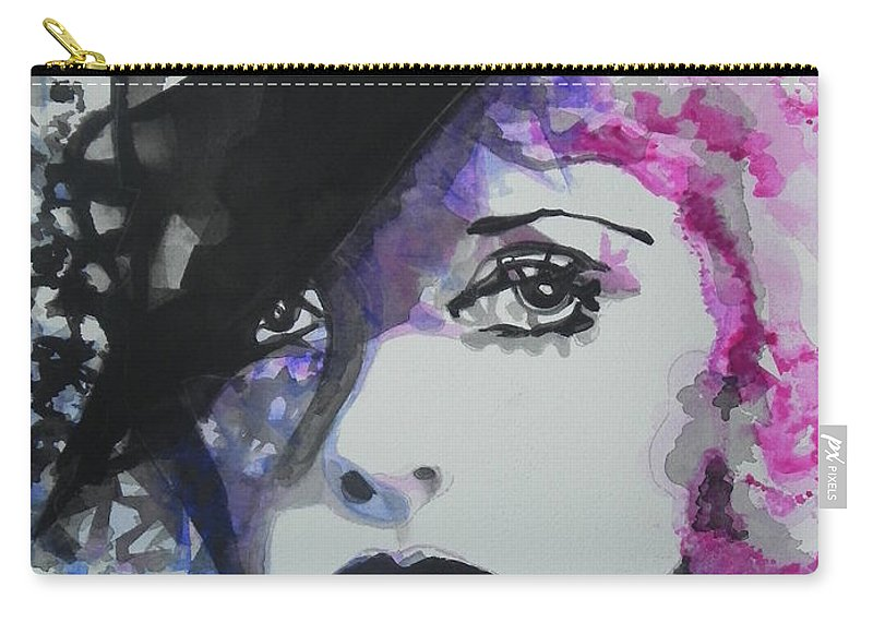 Watercolor Painting Carry-all Pouch featuring the painting Bette Davis 02 by Chrisann Ellis