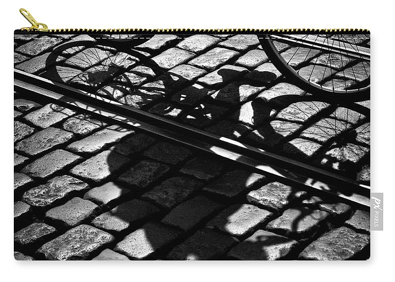 Cyclist Carry-all Pouch featuring the photograph Between The Lines by Dave Bowman
