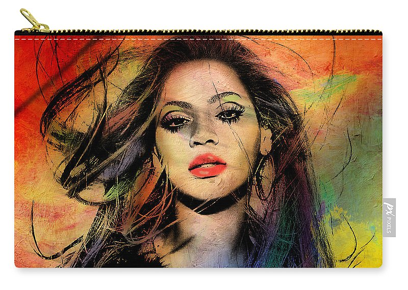 Beyonce Carry-all Pouch featuring the painting Beyonce by Mark Ashkenazi